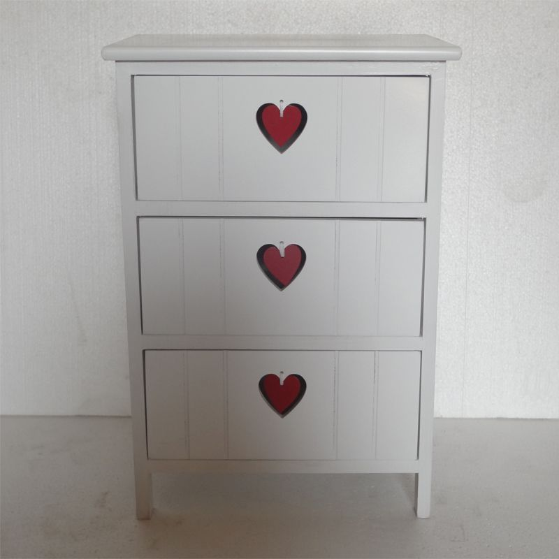 White Paulownia Cabinet 3 Heart Drawer With Red Heart
