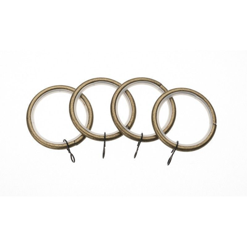 Universal 19mm Antique Brass Metal Curtain Rings 4 Pack