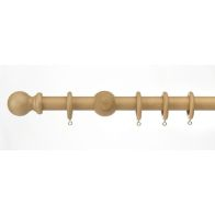 See more information about the Universal Natural Wood Curtain Pole Kit With Finials 28mm 1.2m