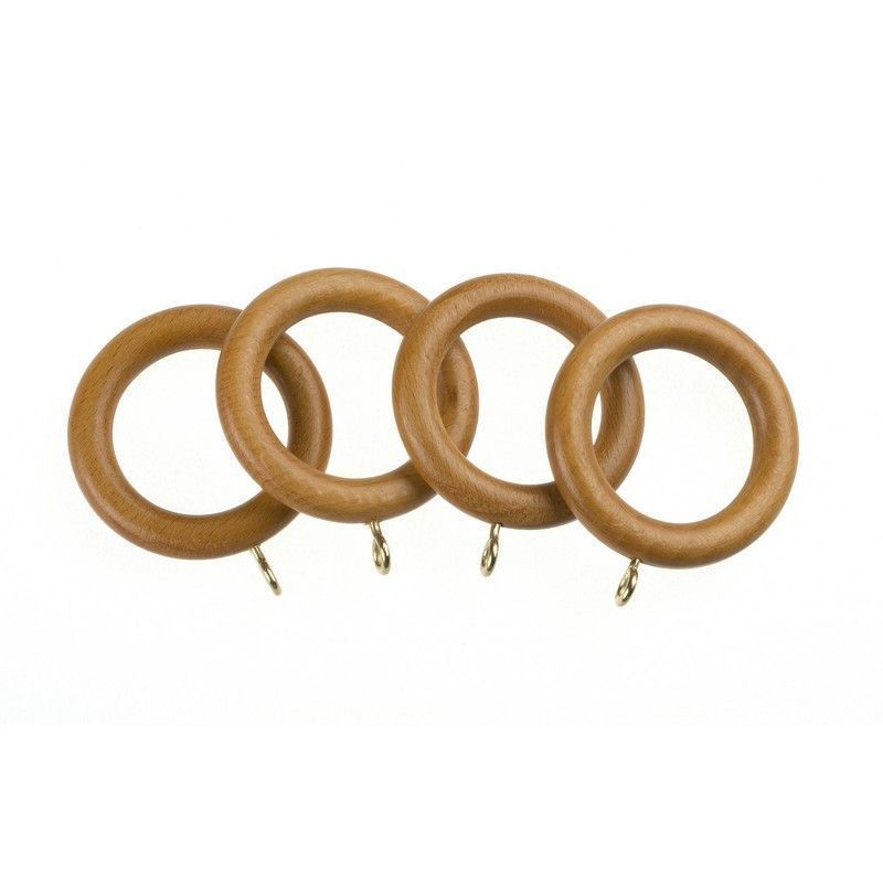 Universal 28mm Antique Pine Wood Curtain Rings 4 Pack