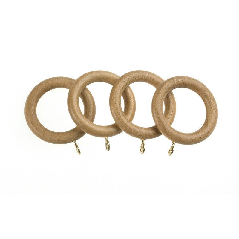 Universal 28mm Natural Wood Curtain Rings 4 Pack