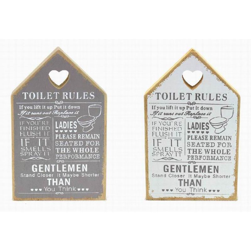 toilet rules house plaque buy online at qd stores. Black Bedroom Furniture Sets. Home Design Ideas