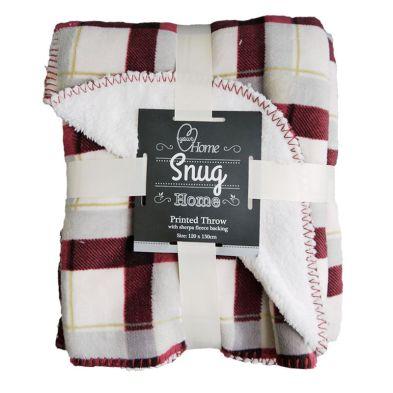120cm x 150cm Print Fleece Throw Sherpa - Red Check