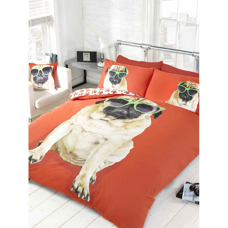 Red Percy Pug Single Duvet Set