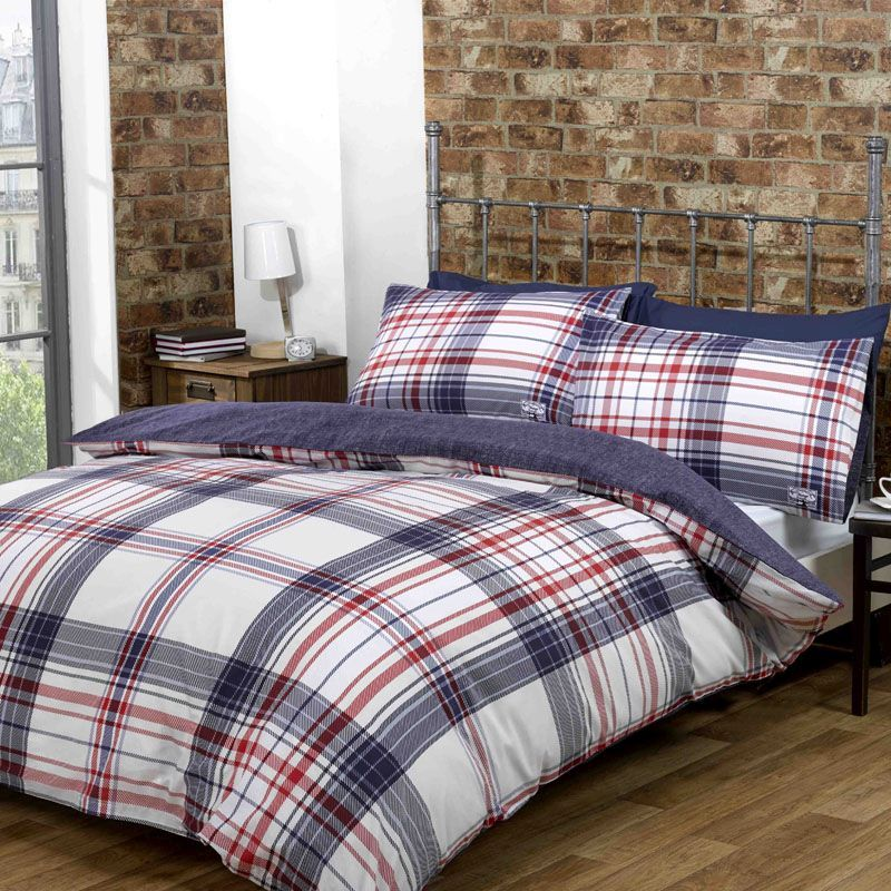 Blue Harper Check Double Duvet Set