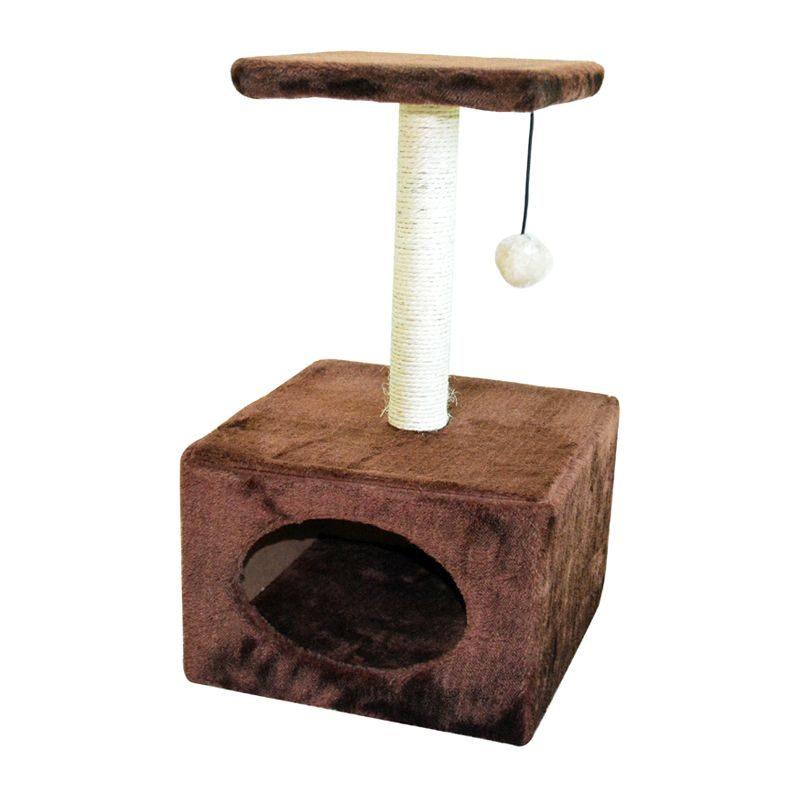 Cat Home & Scratcher With Ball 53cm