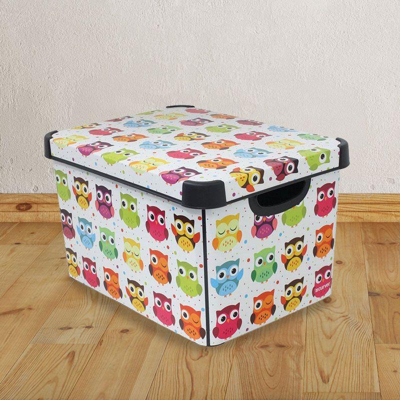 22l curver 39 owls 39 free standing plastic storage box buy. Black Bedroom Furniture Sets. Home Design Ideas
