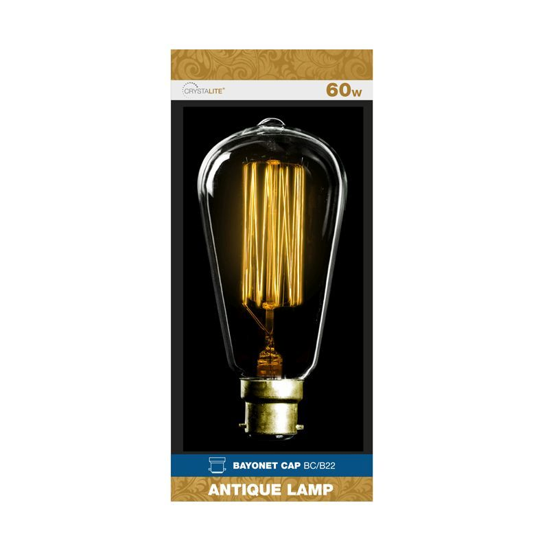 Crystalite Bayonet Cap Antique Lamp Bulb 60w - Squirrel Cage Filament
