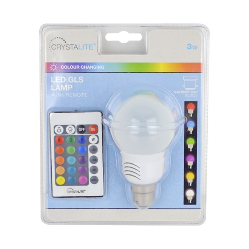 Crystalite 3w Colour Changing LED GLS Lightbulb with Remote (BC/B22)