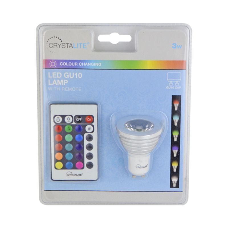 Crystalite 3w Colour Changing LED GU10 Lamp with Remote (GU10 CAP)