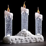 See more information about the Set Of 3 White LED Glitter Candles