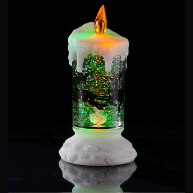 Festive LED Movement Glitter Candle Light with White Sparkle Glitter