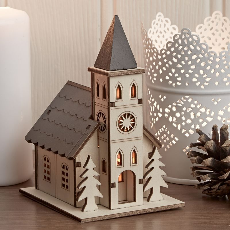 Decorative Small Wooden House with Warm White LED Lights