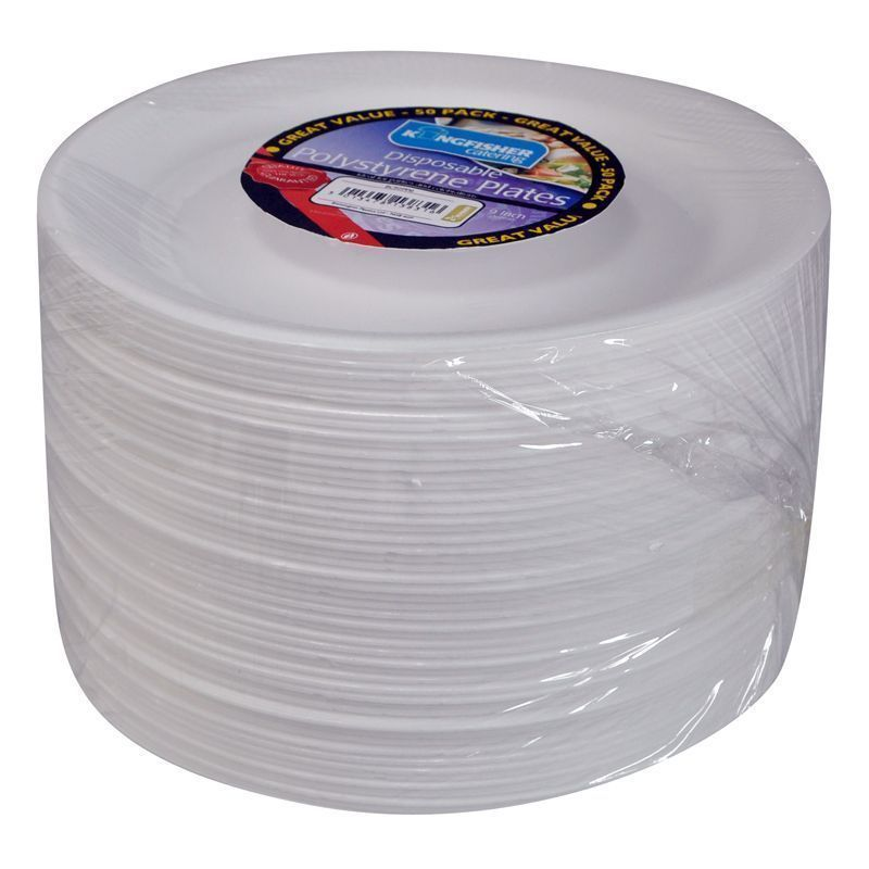 9 inch White Polystyrene Plates (50 Pack)