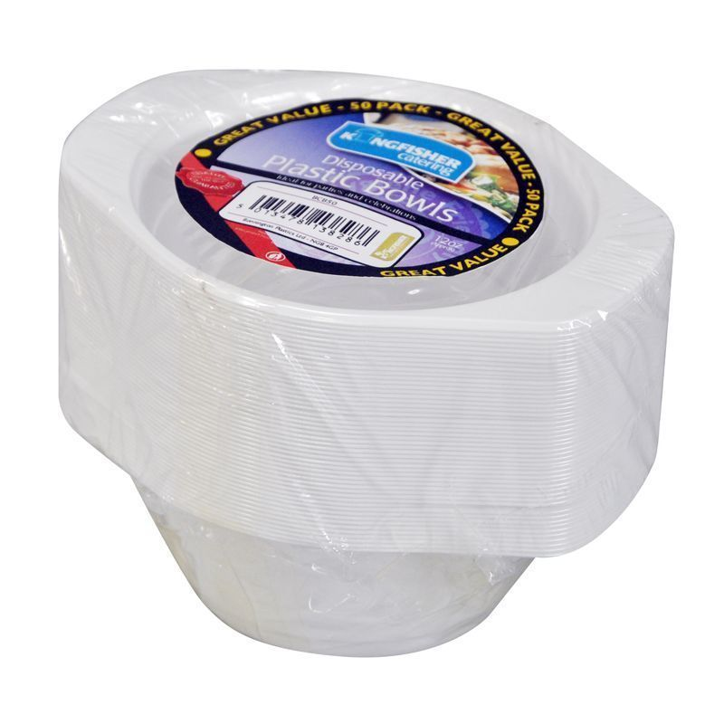 6 inch White Disposable Plastic Bowls (50 Pack)