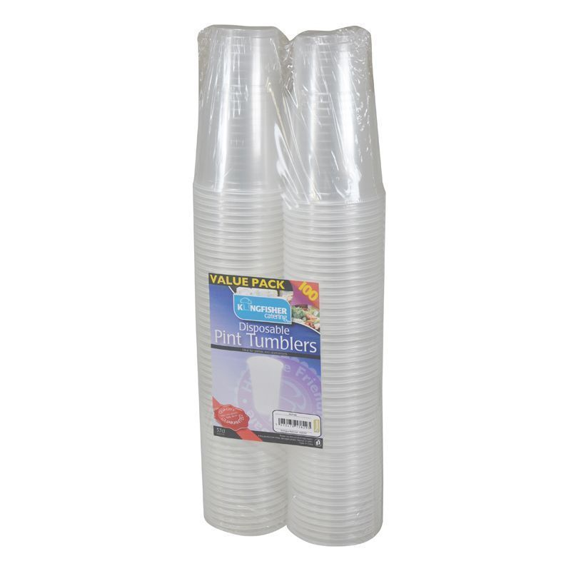 1 Pint Clear Disposable Plastic Tumblers (100 Pack)