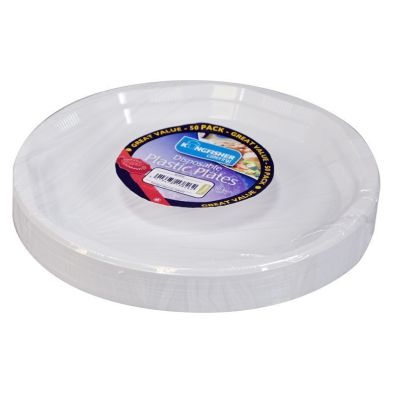 10 inch White Disposable Plastic Plates (50 Pack)