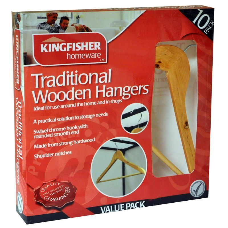 Wooden Clothes Coat Hangers (10 Pack)