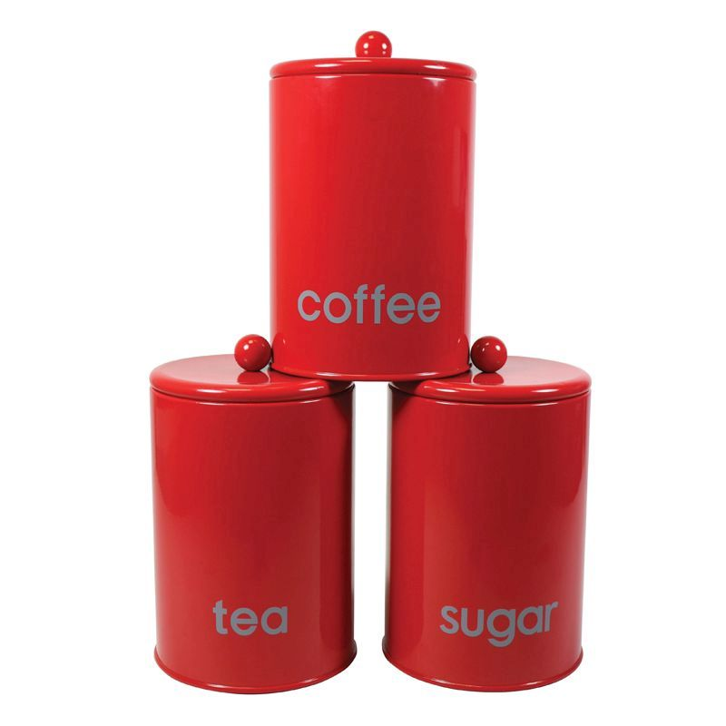 Red 3 Piece Round Canister Set Buy Online At Qd Stores