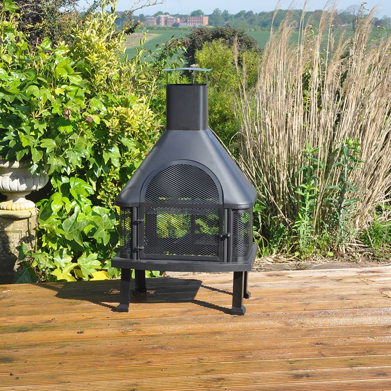 Outdoor Log Burner Chimney BBQ Heater