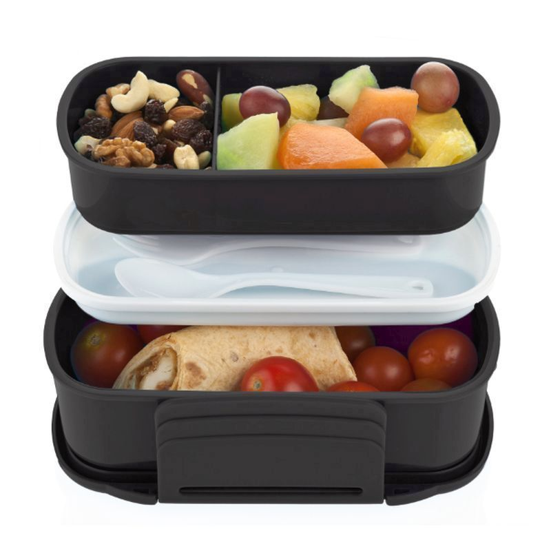polar gear bento lunch box with cutlery 1 1 litre black buy online at qd stores. Black Bedroom Furniture Sets. Home Design Ideas
