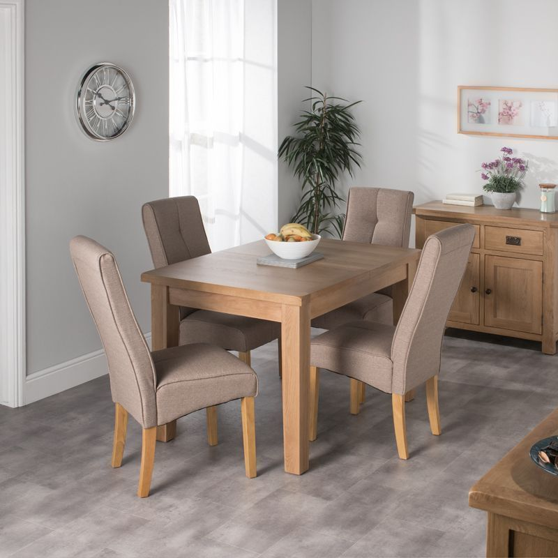 Cotswold Oak Dining Table Set With 4 Brown Milan Chairs Buy Online At Qd Stores