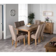 See more information about the Cotswold Oak Medium Dining Table Set With 6 Brown Milan Chairs
