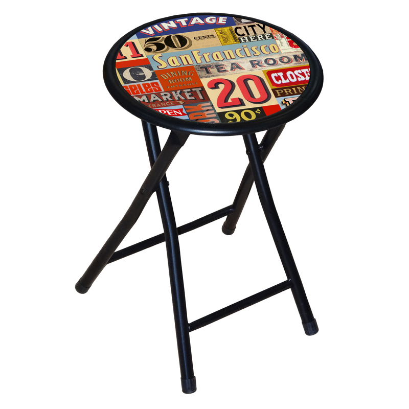 Superb Printed Folding Stool Retro Design Caraccident5 Cool Chair Designs And Ideas Caraccident5Info