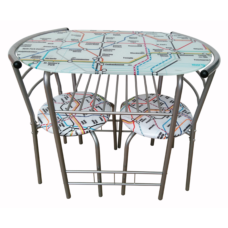 Printed Dining Set Table With 2 Chairs - Underground Design