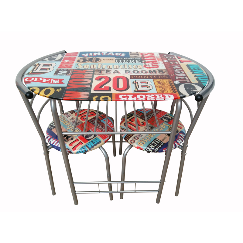 Printed Dining Set Table With 2 Chairs - Retro Design