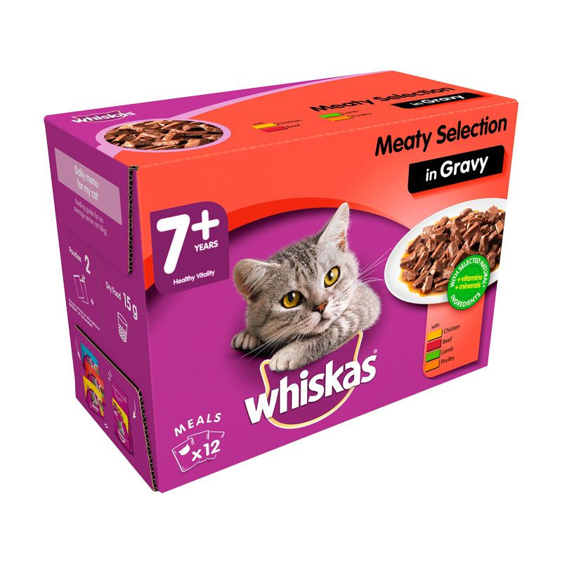 Whiskas Wet Mature Cat Food Meaty Selection 12 Pouches