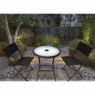 See more information about the Hillingdon 3 Piece LED Set Garden Furniture