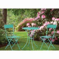 See more information about the Primrose Folding Metal Bistro Set Teal)
