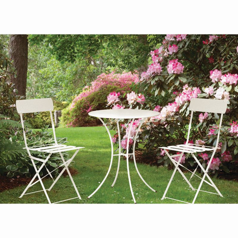 Primrose Folding Metal Bistro Set Furniture (Cream)
