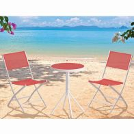See more information about the Fiji Folding Textilene Bistro Furniture (Red)
