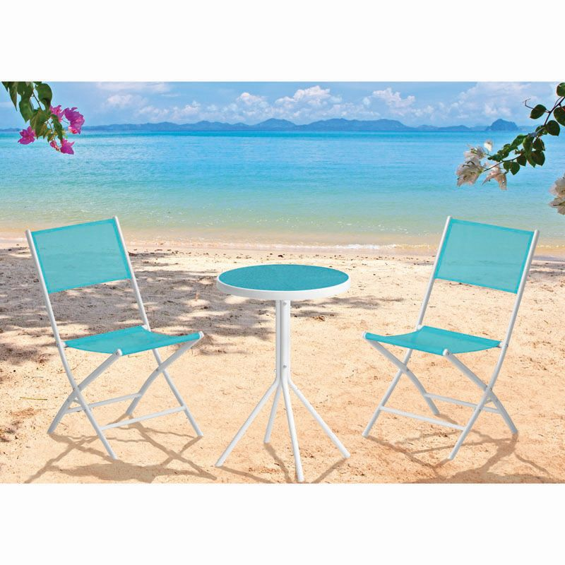 Fiji Folding Textilene Bistro Garden Furniture (Blue)