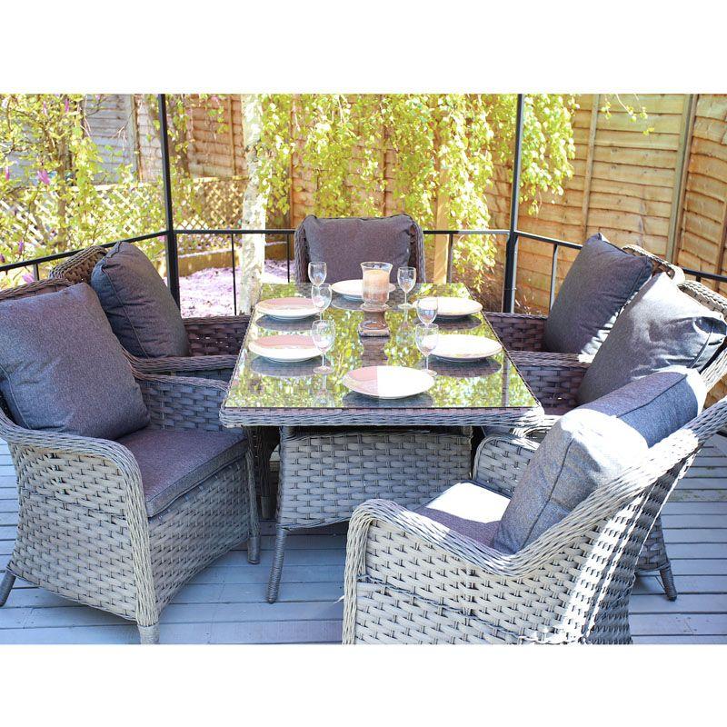 7 piece rattan dining furniture set image