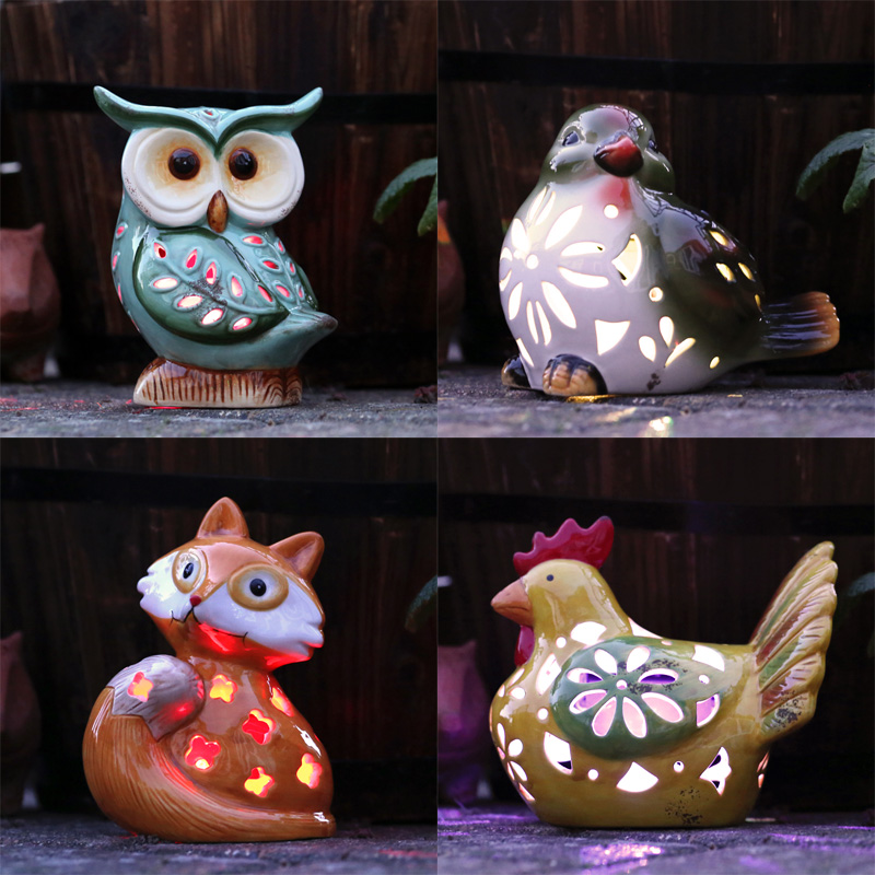 Ceramic Animal Solar Light (Owl)