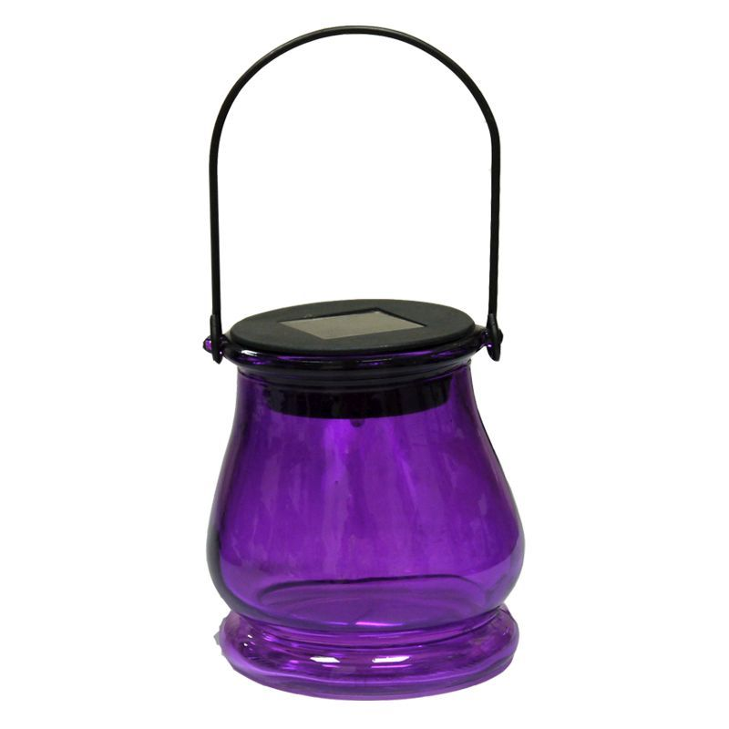 Bright Garden Hanging Jar Solar Light - Purple