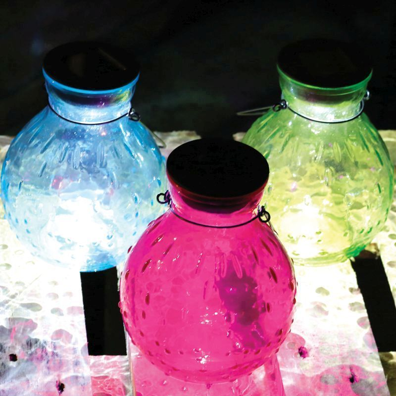 Glass Jar Table Solar Light (Blue)