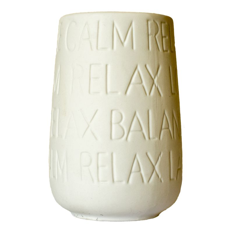 Text Series Stoneware Ceramic Toothbrush Holder