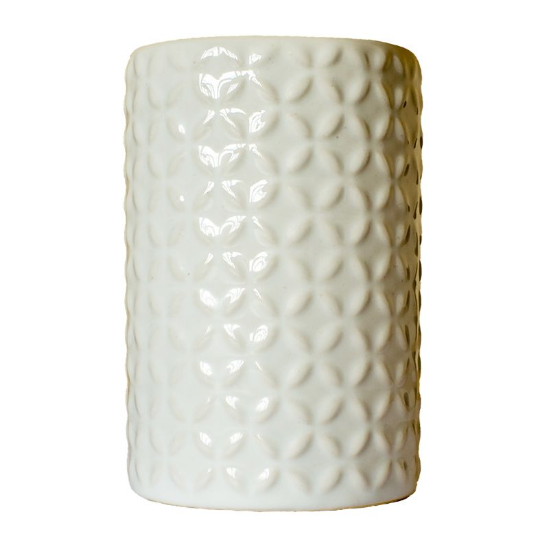Embossed Ceramic Glazed Toothbrush Holder