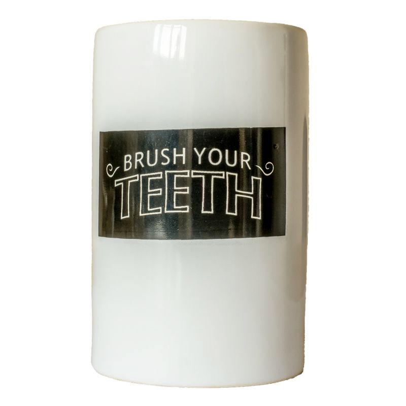 """Brush Your Teath"" Ceramic Toothbrush Holder"