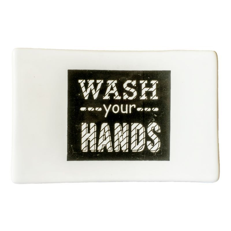 """Wash Your Hands"" Ceramic Soap Dish"