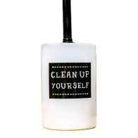 "See more information about the ""Clean Up Yourself"" Ceramic Toilet Brush Holder"