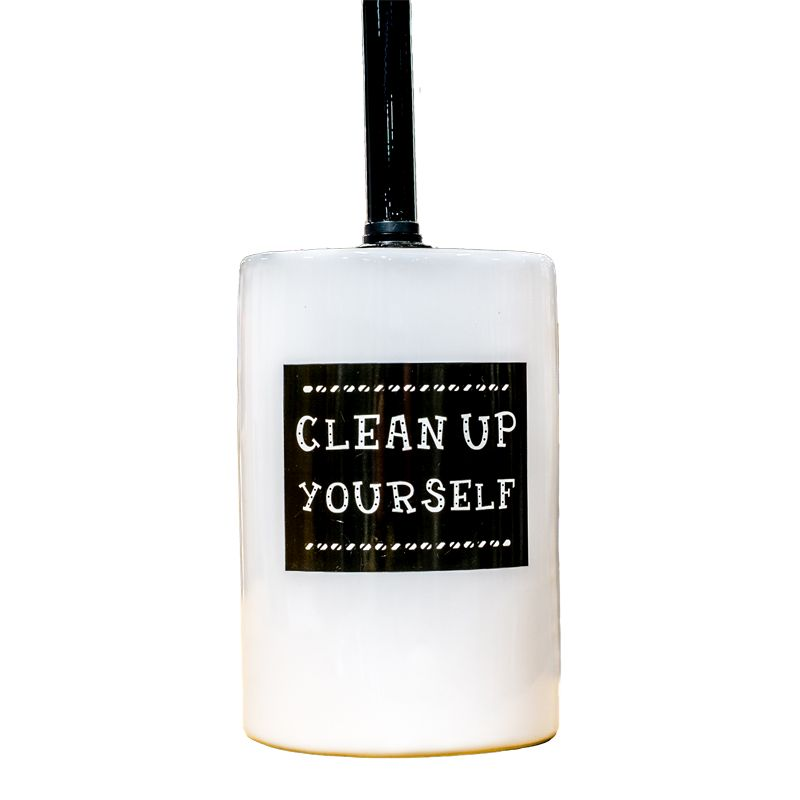 """Clean Up Yourself"" Ceramic Toilet Brush Holder"