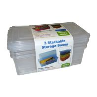 See more information about the 5L Pack 3 of Premier Stacking Plastic Storage Boxes Clear
