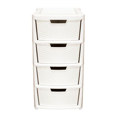 135L Premier 4 Drawer Plastic Storage Tower Cream