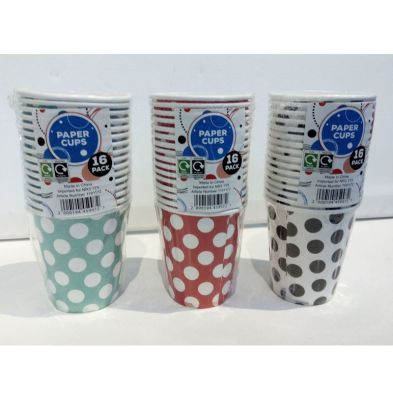 16 Pack of Paper Cups - Blue with White Spots