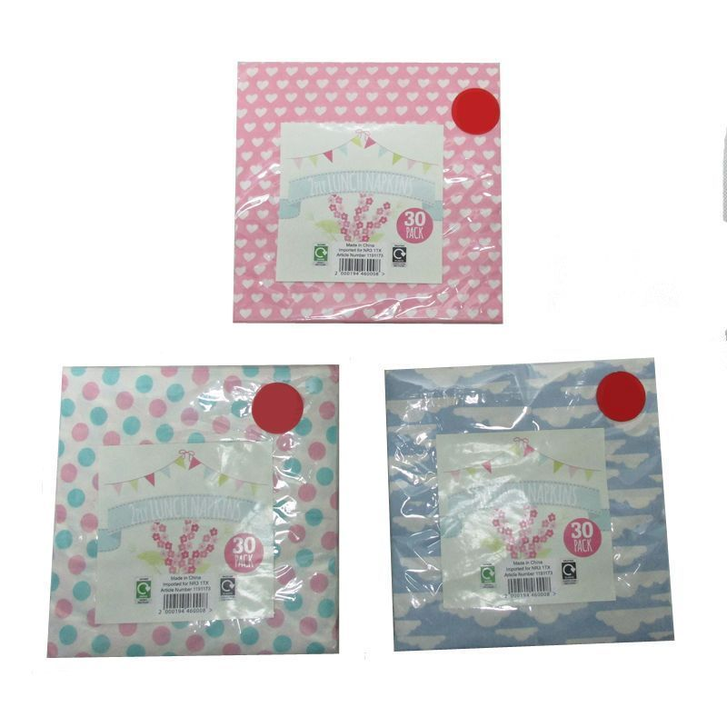 30 Pack of Lunch Napkins - Pink with White Hearts